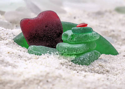 Photograph - Green And Red Seaglass  by Janice Drew