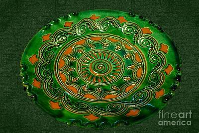 Photograph - Sgraffito On Green And Terracotta Bowl  by Janette Boyd