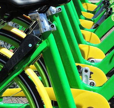 Photograph - Green And Yellow Bicycles by Bill Tomsa