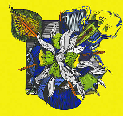Still Life Drawings - Green and yellow flowers  by Shane Ann Connell
