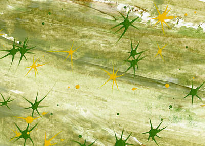Painting - Green And Yellow Stars by Lori Kingston
