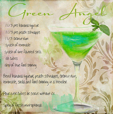 Restaurant Signs Painting - Green Angel Mixed Cocktail Recipe Sign by Mindy Sommers