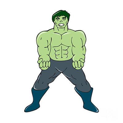 Green Angry Man Clenching Fist Cartoon Art Print