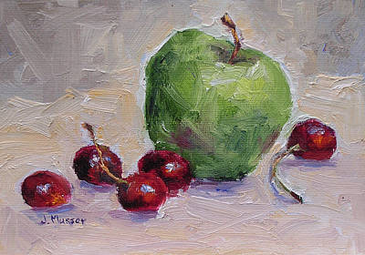 Painting - Granny Smith And Bing Cherries by Jill Musser