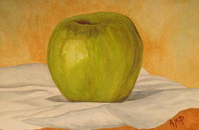 Apple Watercolor Painting - Green Apple by Angeles M Pomata