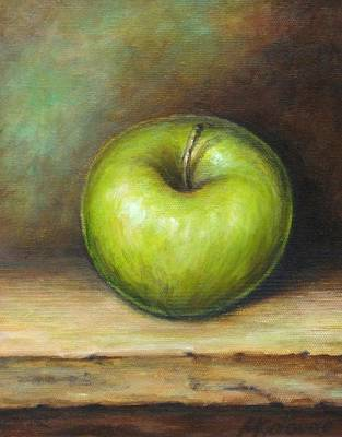 Apple Still Life Painting - Green Apple by Mirjana Gotovac