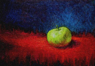 Painting - Green Apple On Red Mosaic by Marna Edwards Flavell