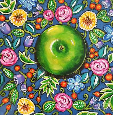 Green Apple Art Print by Sandra Lett