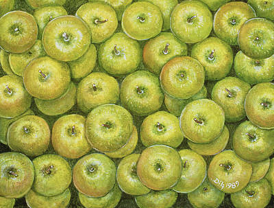 Fruits And Vegetables Painting - Green Apple Spread by Ditz