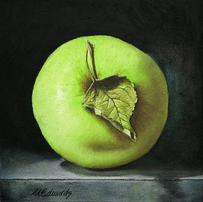 Painting - Green Apple With Leaf by Marna Edwards Flavell