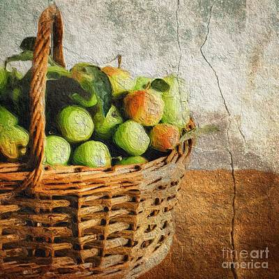 Crab Basket Painting - Green Apples In A Basket by Amy Cicconi