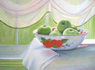 Still Life With Green Apples Painting - Green Apples by Jane  Simonson