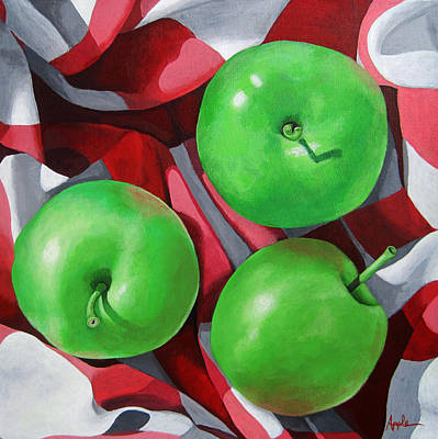 Green Apples Still Life Painting Art Print by Linda Apple