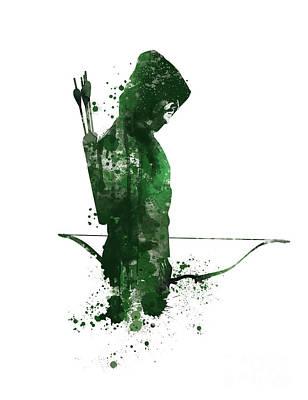 Starlings Mixed Media - Green Arrow by Monn Print