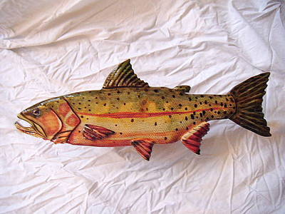 Dryriver Painting - Green Back Cut Throat Trout Number 2 by Lisa Ruggiero