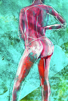 Art Print featuring the painting Green Back Figure No. 4 by Nancy Merkle