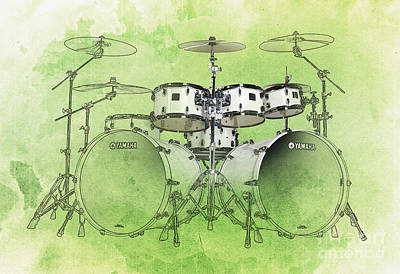 Green Background Drums Art Print