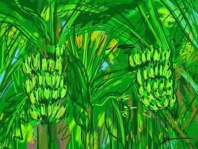 Digital Art - Green Bananas by Jean Pacheco Ravinski