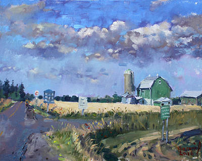 Field. Cloud Painting - Green Barn In Glen Williams On by Ylli Haruni