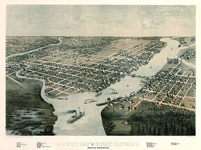 Photograph - Map Of Green Bay 1867 by Andrew Fare