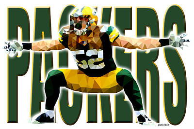 Punt Digital Art - Green Bay Packers by Stephen Younts