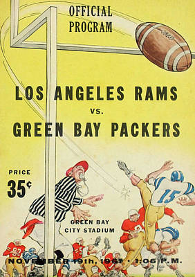 Green Bay Packers Vintage Program 3 Art Print by Joe Hamilton