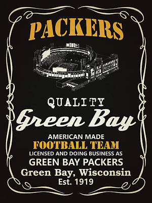 Team Mixed Media - Green Bay Packers Whiskey by Joe Hamilton