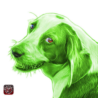 Painting - Green Beagle Dog Art- 6896 -wb by James Ahn