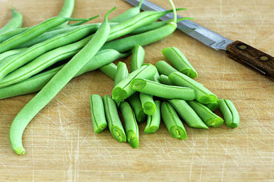 Photograph - Green Beans Sliced With A Knife by Sharon Talson