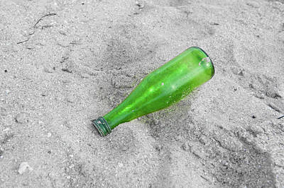 Photograph - Green Beer Bottle by Helen Northcott