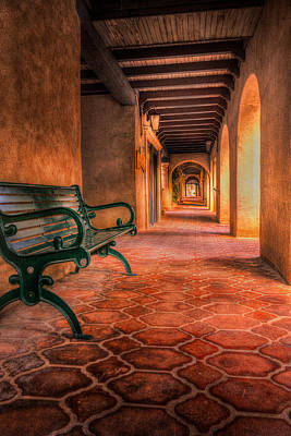 Green Bench And Arches Art Print
