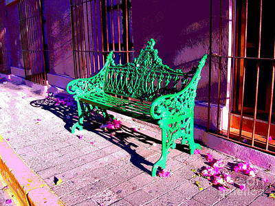 Green Bench By Michael Fitzpatrick Art Print by Mexicolors Art Photography