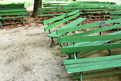 Park Benches Mixed Media - Green Benches- Fine Art Photo By Linda Woods by Linda Woods