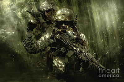 Recon Photograph - Green Berets Soldiers In The Jungle by Oleg Zabielin
