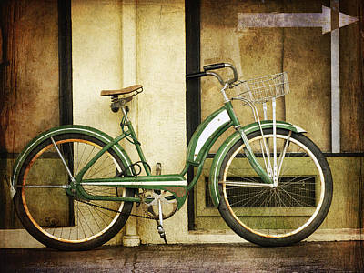 Green Bicycle Print by Carol Leigh