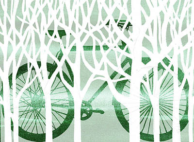 Painting - Green Bicycle White Forest Silhouette by Irina Sztukowski