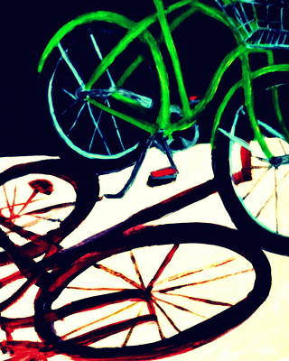 Painting - Green Bike And Shadow by Katy Hawk