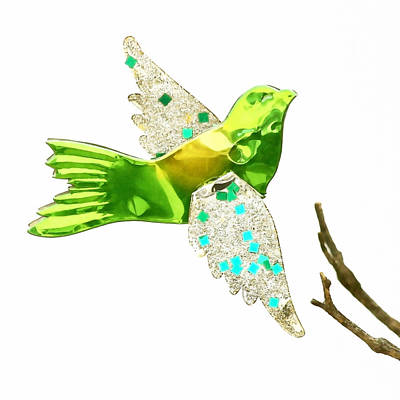 Christmas Blocks Photograph - Green Bird Ornament by Art Block Collections