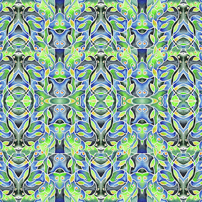 Painting - Green Blue Batik Style Watercolor Pattern by Irina Sztukowski