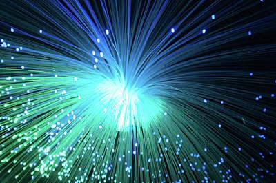 Technology Photograph - Green Blue Optic Fiber by Cilou101