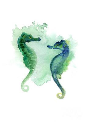 Seahorse Mixed Media - Green Blue Seahorses Watercolor Art Print by Joanna Szmerdt