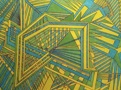 Angelic Drawing - Green Blue Yellow by Modern Metro Patterns and Textiles