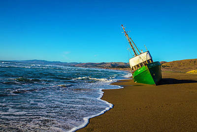 Green Boat At Low Tide Art Print