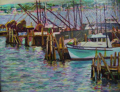 Boat Painting - Green Boat At Rest- Nova Scotia by Richard Nowak