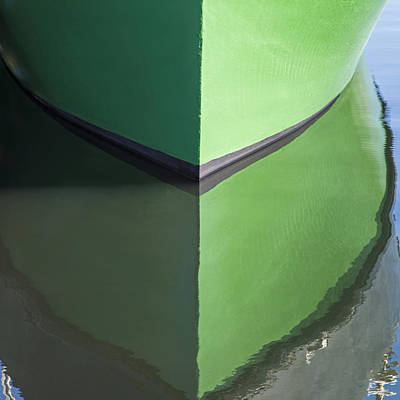 Photograph - Green Boat Reflection by Charles Harden