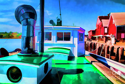 Digital Art - Green Boat by Rick Bragan
