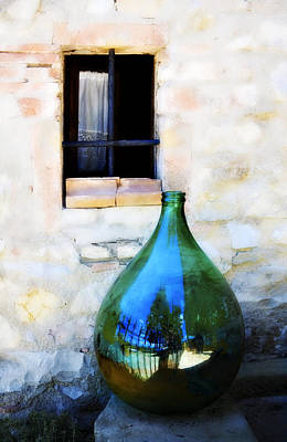 Photograph - Green Bottle Italian Window by Marilyn Hunt