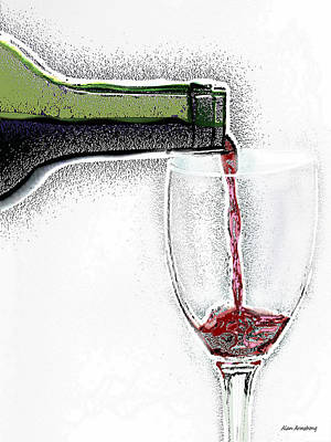 Pouring Wine Digital Art - Green Bottle Red Wine by Alan Armstrong