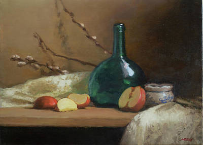 Painting - Green Bottle with Red Apples by Walter Lynn Mosley