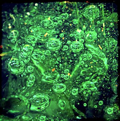 Green Bubbles Floating Art Print by Susan Leggett